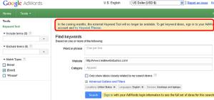 Google External Keyword Tool going?