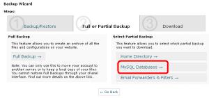 Select MySQL database and not root folder