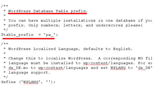 Wordpress Database Table Prefix