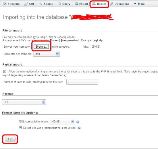 Upload old Database file